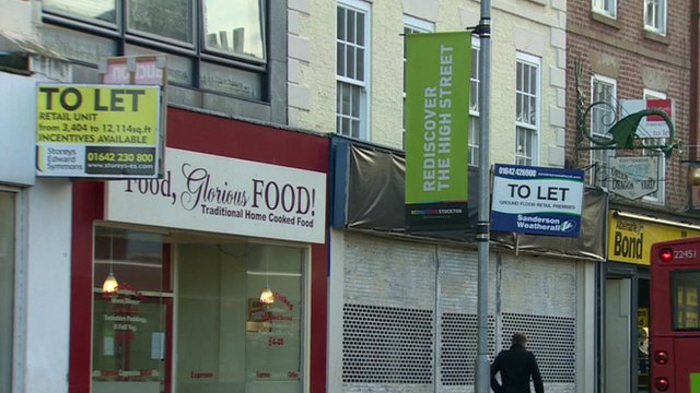 """To let"" signs along shopping street in Stockton-on-Tees"
