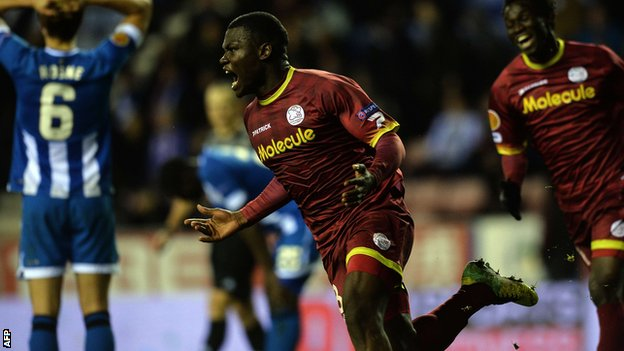 Zulte Waregem's Junior Malanda celebrates his winning goal against Wigan in the Europa League
