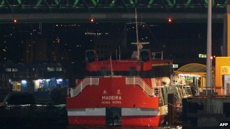 "A high-speed ferry is seen docked in Hong Kong waters early on 29 November 2013 after it hit an ""unidentified object"" in the water as it was travelling from Hong Kong to Macau, injuring 80 people, according to Hong Kong's marine department"