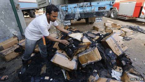 Clothes damaged in the Gazipur blaze