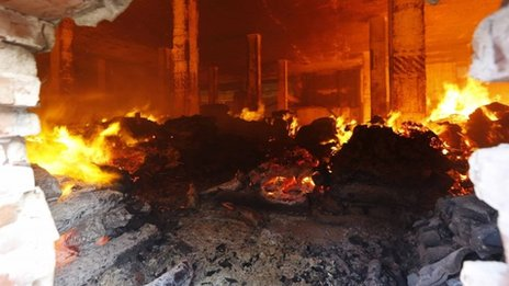 The fire inside the Standard Group garment factory warehouse