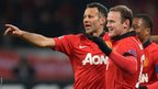 Ryan Giggs celebrates against Bayer Leverkusen