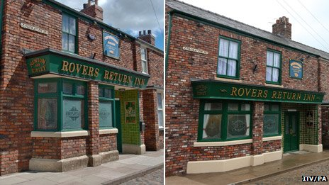 Rovers Return before (left) and after