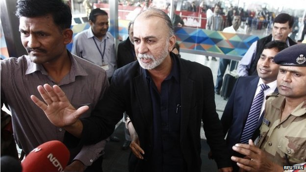 "Tarun Tejpal, the 50-year-old founder and editor-in-chief of India""s leading investigative magazine Tehelka, speaks with the media upon his arrival at the airport on his way to Goa, in New Delhi November 29, 2013."