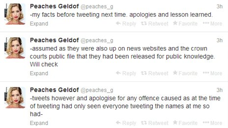 Peaches Geldof tweets