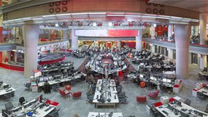 Aerial view of BBC newsroom