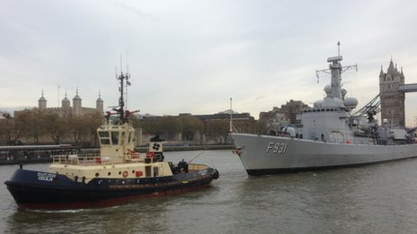 Belgian frigate the Louisa Marie, carrying WW1 soil, sailed up the Thames and docked at HMS Belfast on Friday