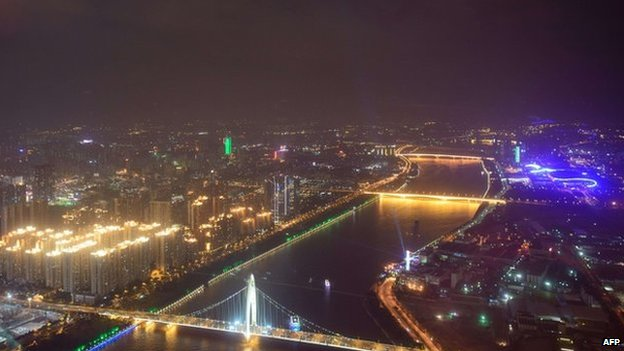 A photo taken on 11 November 2013 shows the skyline of the southern Chinese city of Guangzhou