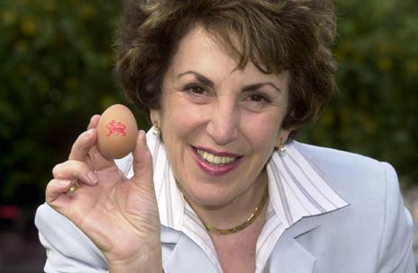 Edwina Currie holding an egg