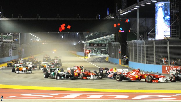 Action from the Singapore Grand Prix night race in September