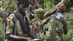 Seleka fighters smoking in Bossangoa, the Central African Republic - Tuesday 25 November 2013