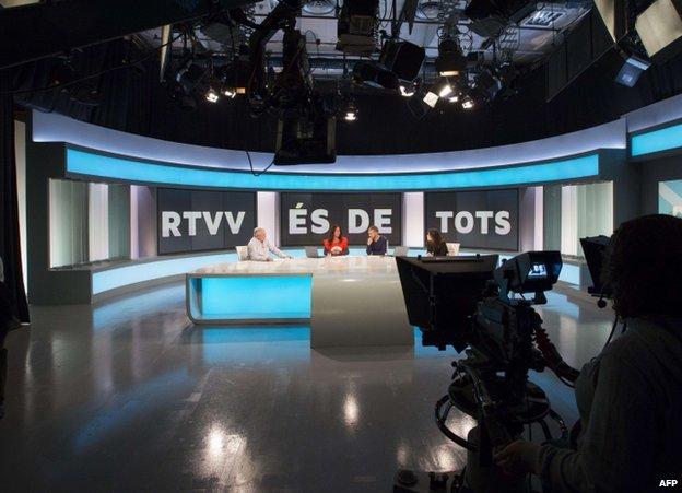 Staff broadcast from inside RTVV in Valencia, Spain, 29 November