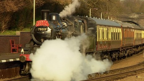 A steam train running on the railway. The Great Central Railway has featured in television shows and films including Buster, Shadowlands, The Hours and Cemetery Junction