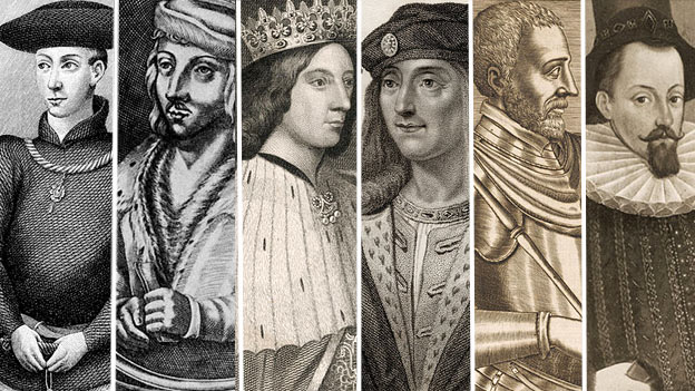 Six James Stuarts: from left to right James I through to James VI