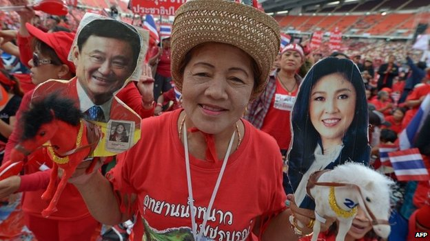 "Thai pro-government ""Red Shirts"" at a rally in Bangkok on 24 November 2013"