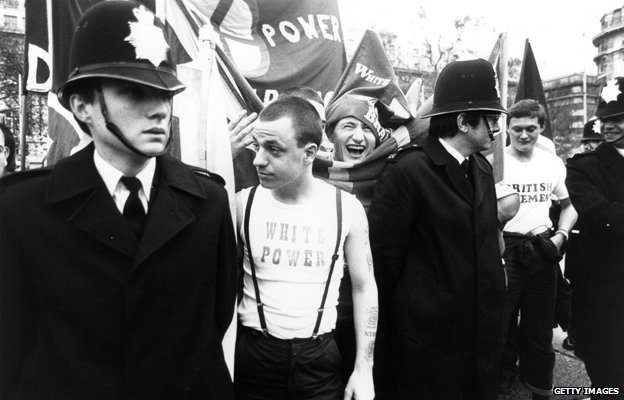 A British Movement rally in Notting Hill in 1980