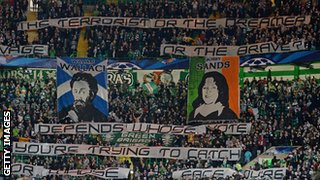 Banner displayed by Celtic fans