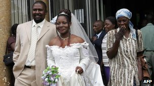 A newly wed couple in Harare, Zimbabwe in 2008