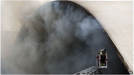 Fire fighter works at Latin America Memorial building in Sao Paulo, Brazil