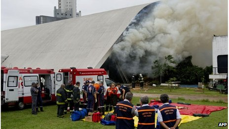 Fire fighters at Latin America Memorial building in Sao Paulo, Brazil