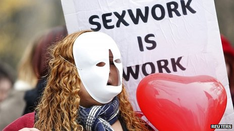 Sex worker activist protests against bill in Paris. 29 Nov 2013