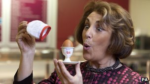 Edwina Currie promoting the new British Lion egg safety code