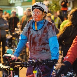 "Cyclist taking part in ""die-in"" protests in London"