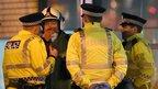 Police at the scene of Glasgow crash