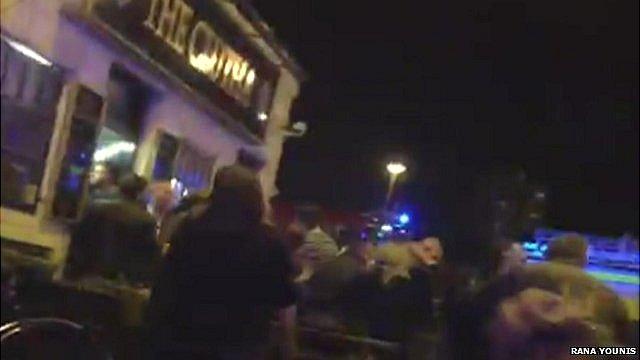 Scene outside Glasgow pub