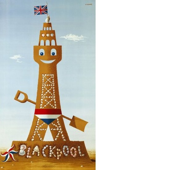 A poster designed by Abram Games showing Blackpool Tower made out of sand and topped with a Union Flag