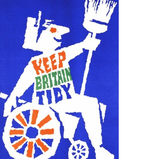 "A poster designed by Abram Games showing a person in a wheelchair holding a broom and bearing the logo ""Keep Britain Tidy"""