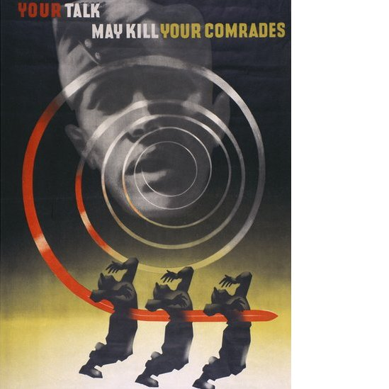 "A poster designed by Abram Games showing ripples coming from a man's mouth stabbing three people. The logo says: ""Your talk may kill your comrades."""