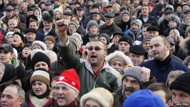 People supporting EU integration hold a rally in Kiev