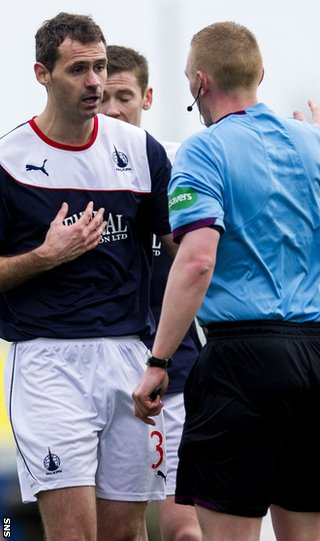 Falkirk's David McCracken is sent off
