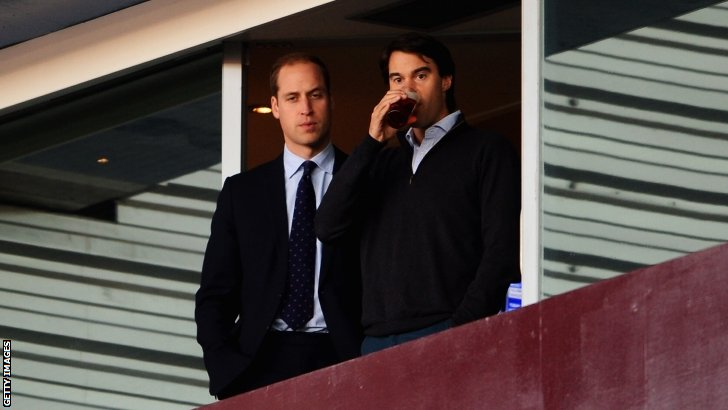 Prince William watches on at Villa Park