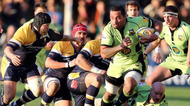 Northampton Saints' Samu Manoa bursts through against Worcester Warriors