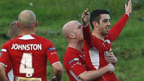 Joe Gormley celebrates after scoring against Linfield