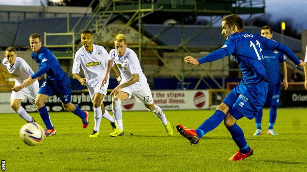 Nick Ross scores a penalty for Inverness against Morton