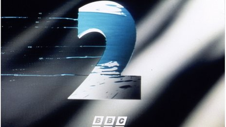 The BBC Two ident which showed a metallic figure 2 splashed with paint