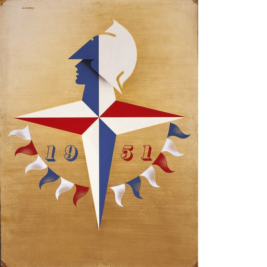 A logo for the Festival of Britain, 1951, designed by Abram Games showing a head on top of a red, white and blue compass