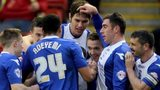 Birmingham celebrate after scoring against Barnsley
