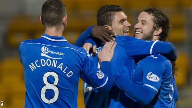 St Johnstone's Sanel Jahic is mobbed by teammates after his goal