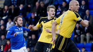 St Jonstone's Stevie May (left) watches his opening goal go in against Livingston