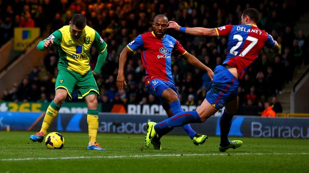 Gary Hooper scores for Norwich against Crystal Palace