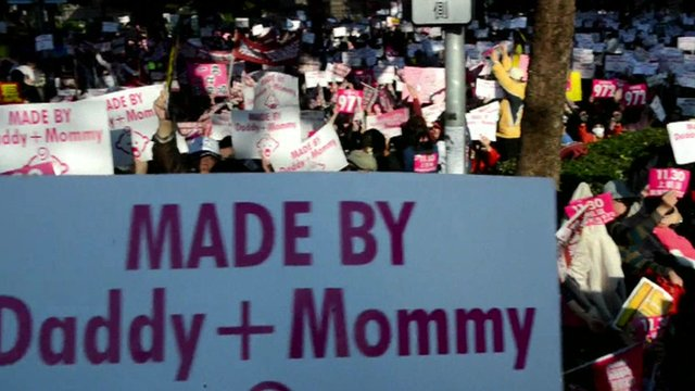 "Anti-gay marriage placards proclaiming ""made by daddy and mommy"""