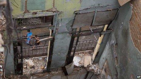 Collapsed house in Havana, Cuba
