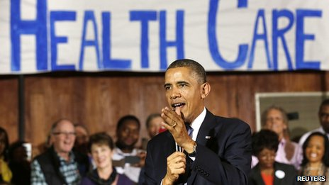 President Obama speaks about Affordable Health Care to volunteers at the Temple Emanu-El in Dallas, Texas. 7 Nov 2013