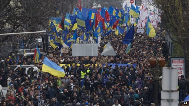 Marchers in Kiev