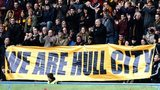 Hull fans protest during the home match against Crystal Palace