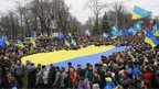 People supporting EU integration hold a rally in Kiev.
